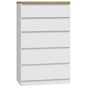 Shoptop Komoda ARTISAN M5 bílá - 5 šuplíků