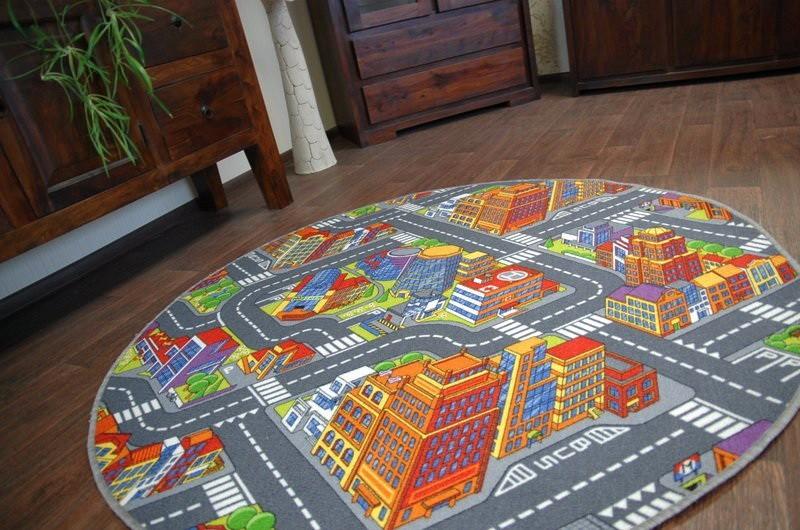 3kraft Dětský kulatý koberec BIG CITY šedý