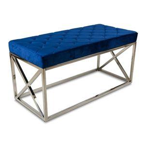 DekorStyle Prošívaný taburet NELJA námořnická modř/stříbrný