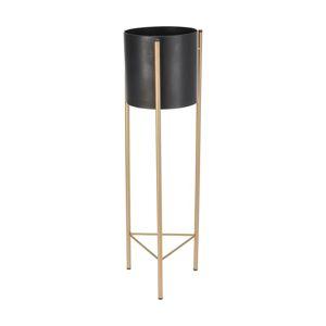 DekorStyle Květináč na stojanu EBBA 67,5 cm černý/zlatý