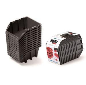 PlasticFuture Sada úložných boxů BINEER LONG 12 ks 19x7,7x12 cm černé