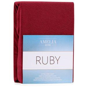 Amelia Home Froté prostěradlo s gumou AmeliaHome Ruby tmavě červené