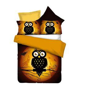 Povlečení z mikrovlákna DecoKing Owls GHOSTSTORY s nápisem HAPPY HALLOWEEN
