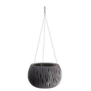 DekorStyle Závěsný květináč Sandy 29 cm černý