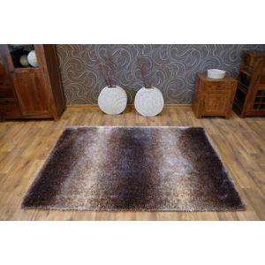3kraft Kusový koberec SHAGGY SOFT - 3D EDWARD béžový / kávový