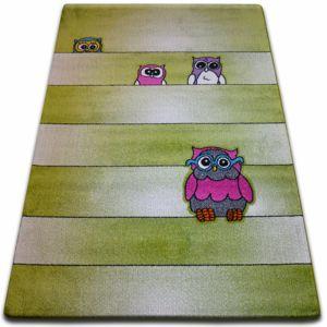 3kraft Kusový koberec KIDS sovy zelený C412