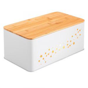 Tutumi Chlebník s bambusovou deskou Star bílý