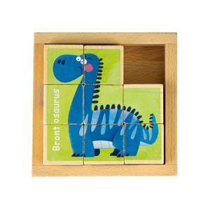 Dřevěné kostičky Dino EcoToys hnědé